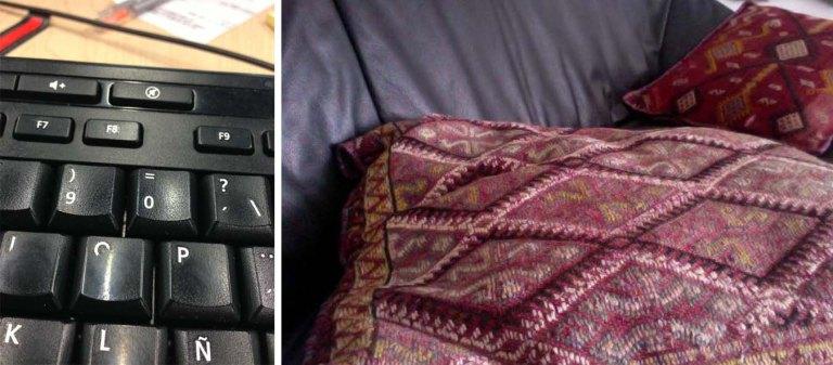 Receiving a photo of a keyboard: Sending a photo of a pillow.