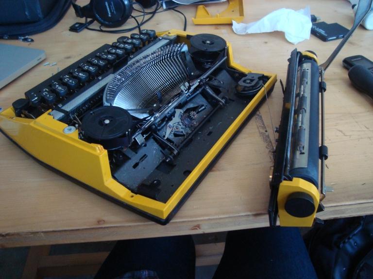 Opening the typewriter