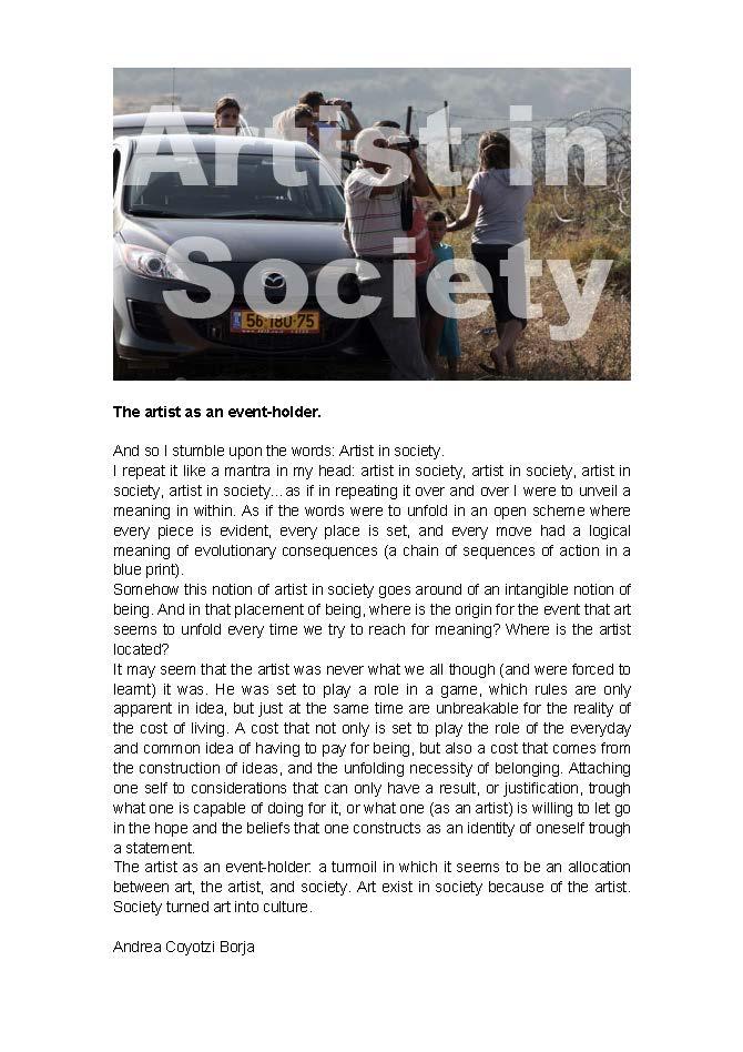 The artist as an event-holder