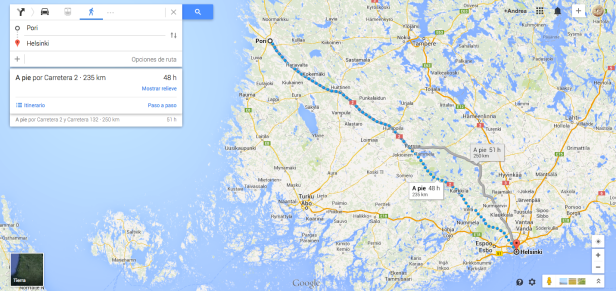 Asking for the route from Pori to Helsinki Wlaking.  48h.