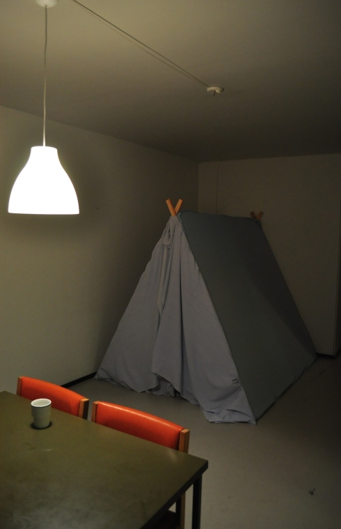 The dwelling process of an interior camping site. Finishing my bedroom