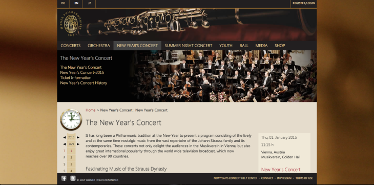 Watching the Philharmonic of Vienna New year's concert